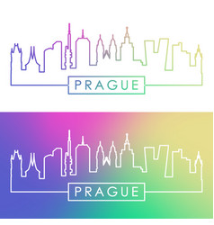 Prague skyline colorful linear style editable vector