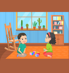 Pupils playing toys elementary school vector