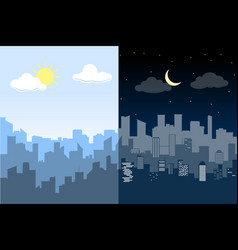 Random blue city skyline difference between day vector