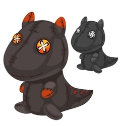 Retro handmade soft toy black dragon vector