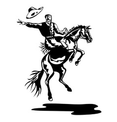 Rodeo Cowboy Riding Bucking Bronco Horse vector image