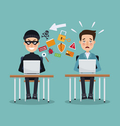scene color thief hacker and programmer man in vector image