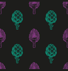 Seamless pattern with artichoke vector