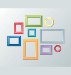 set color photo frames on wall vector image