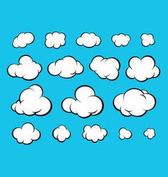 Set diverse cartoon clouds vector