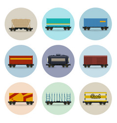 Set of icons freight rail wagons vector