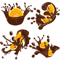 set of realistic chocolate splashes with orange vector image