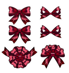 Set of red gift bows with ribbons vector