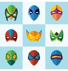Set of super hero masks in flat style vector