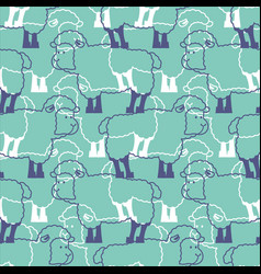 sheep pattern ewe ornament flock of sheeps farm vector image