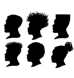 silhouette african american men profile portrait vector image