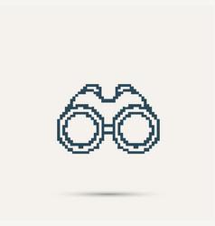 Simple style binoculars pixel icon design vector