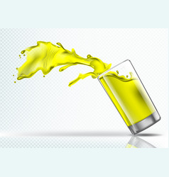 Splash of mango juice from a falling glass vector
