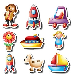 Sticker set of toys vector image