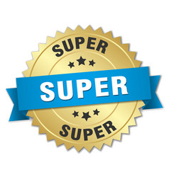 Super 3d gold badge with blue ribbon vector