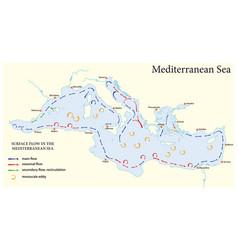 Surface flow map in mediterranean sea vector