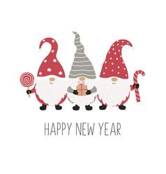 three christmas gnomes funny characters vector image