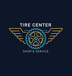 tire and wheel service badge design stock vector image