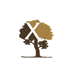 tree letter x vector image