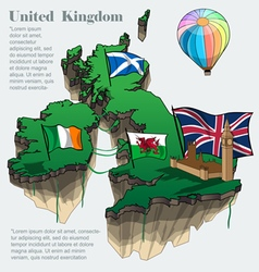United kingdom country infographic map in 3d vector image