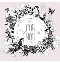 Vintage Monochrome Floral Greeting Card with Birds vector