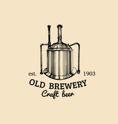 Vintage old brewery logo kraft beer icon vector