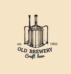 vintage old brewery logo kraft beer icon vector image