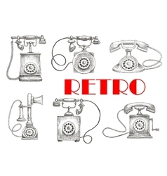 Vintage sketched rotary dial telephones symbols vector