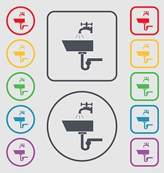 Washbasin icon sign Symbols on the Round and vector image