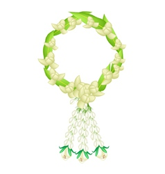 White colors of ylang ylang flowers garland vector