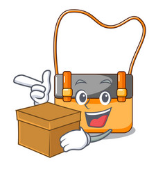 With box bag messenger businessman the leather vector