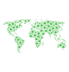 World map pattern of cannabis icons vector
