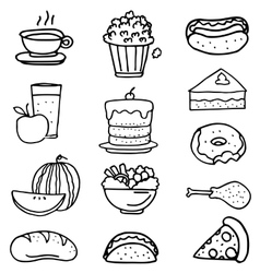 Doodle of food kitchen cake fruit vector image