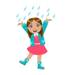 girl dancing under raindrops kid in autumn vector image