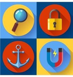 Internet marketing icons set Flat design style vector image