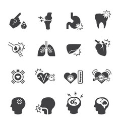 medical icon set pain and symptom vector image vector image