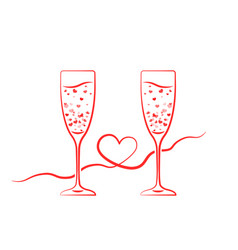 red champagne glass hearts with ribbon vector image