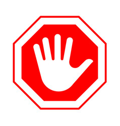 red octagonal stop sign with hand vector image vector image
