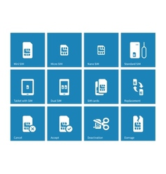 SIM cards icons on blue background vector image