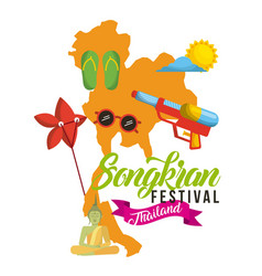 songkran festival thailand map flip flop vector image