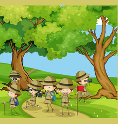 boyscouts hiking in the mountain vector image vector image