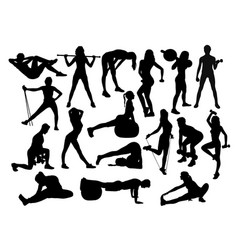 fitness gym sport activity silhouettes vector image vector image