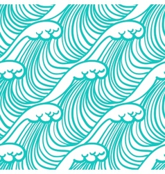 Linear pattern in tropical aqua blue with waves vector image
