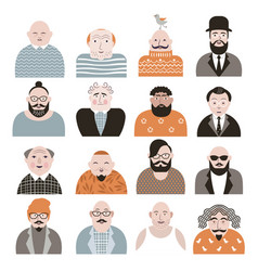 people avatar face icons vector image vector image
