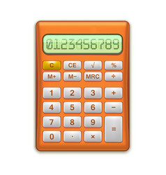realistic electronic red calculator vector image