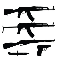 Silhouettes of firearms vector