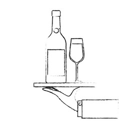 waiter hand holding tray with bottle glass of vector image