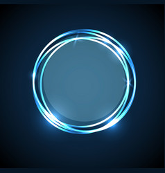 abstract background with blue neon circles banner vector image