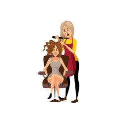 female hairdresser making hairstyle using curling vector image