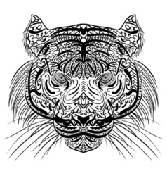 Sketch black and white tiger head Zen-tangle vector image vector image